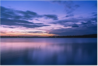 beautiful Evening sky clouds with sunset on the lake. Poster