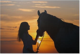 Beautiful horse with girl silhouette on sunset Poster