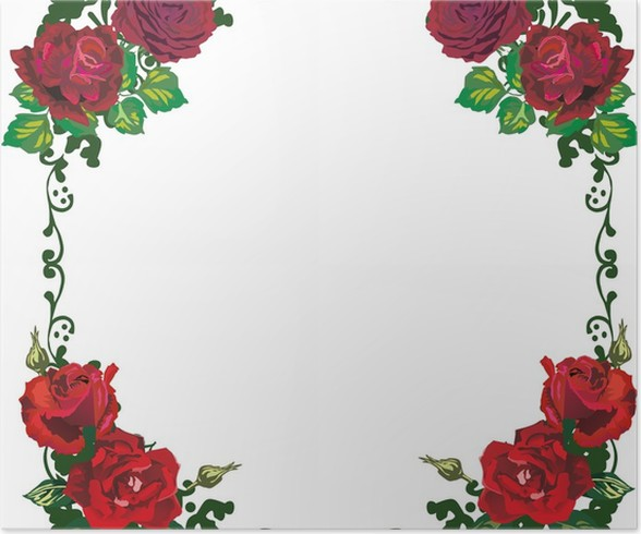 beautiful isolated red rose frame pattern Poster • Pixers® • We live ...