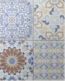 Beautiful old ceramic tile wall patterns in the park public. Poster