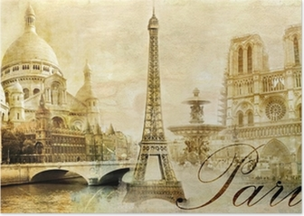 beautiful Paris - vintage post card Poster
