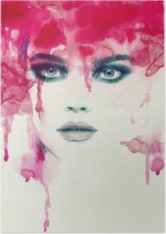 Beautiful woman. watercolor illustration Poster