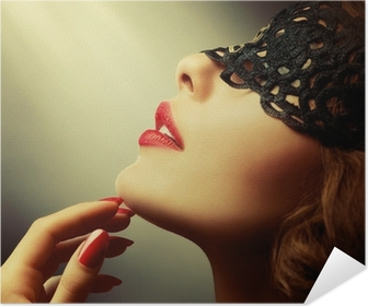 Beautiful Woman with Black Lace mask over her Eyes Poster