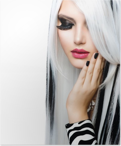 Beauty fashion girl black and white style long white hair poster