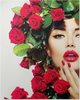 Beauty Fashion Model Girl Portrait with Red Roses Hairstyle Poster