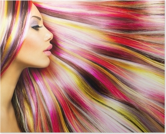Beauty Fashion Model Girl with Colorful Dyed Hair Poster