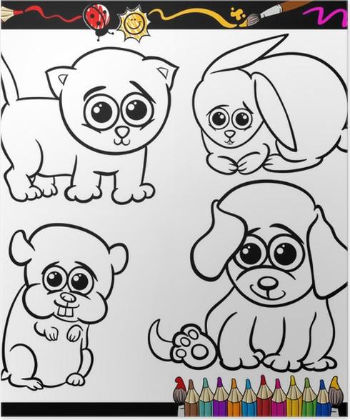 Póster Bebé mascotas conjunto de dibujos animados para colorear ...