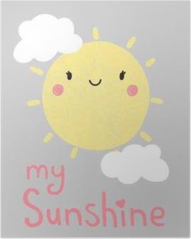 Poster Beeldverhaal zon grafisch, vector, illustratie