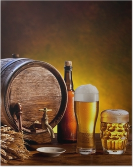 Beer barrel with beer glasses on a wooden table. Poster