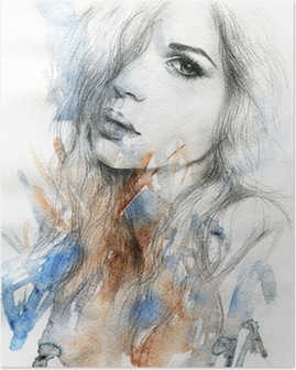 Poster Belle femme. illustration d'aquarelle