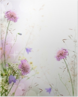 Poster Belle frontière floral pastel - arrière-plan flou