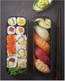 Poster Bento box mit Sushi und rollen