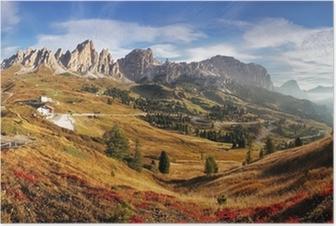 Poster Bergspanorama i Italien Alperna Dolomiterna - Passo Gardena