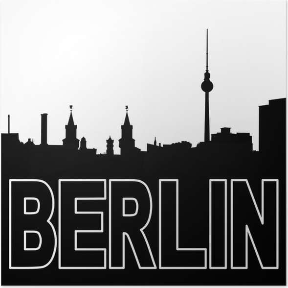 Berlin skyline black silhouette on white illustration poster european cities