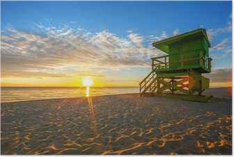 Poster Beroemde Miami South Beach zonsopgang