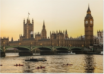 Big Ben Clock Tower and Parliament house at city of westminster, Poster