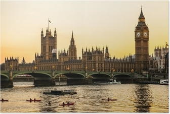 Poster Big Ben Clock Tower en het Parlement huis bij City of Westminster,