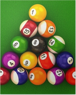 billiard balls with numbers Poster