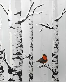 Birch in snow, winter card in vector Poster