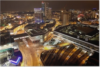 Birmingham City Centre at night Poster