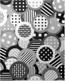 Black and white background with circles Poster