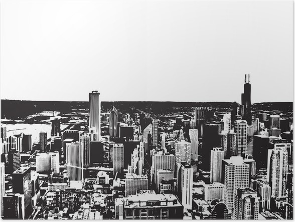 Black and white city background poster wall decals