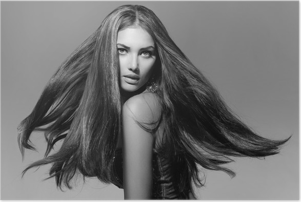 Black and white fashion model girl portrait with blowing hair poster