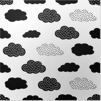 Black and white seamless pattern with clouds. Cute baby shower vector background. Child drawing style illustration. Poster