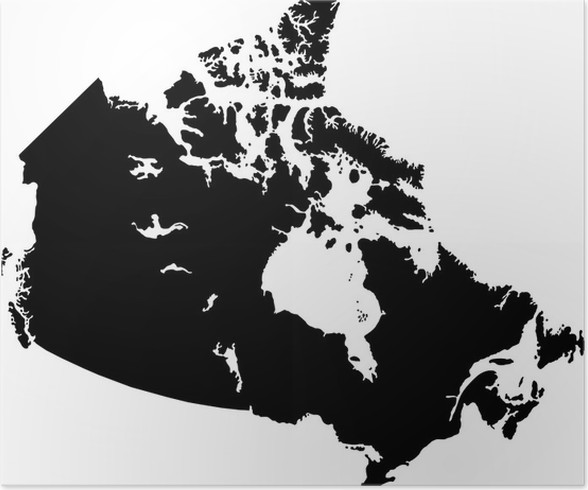Black canada map poster