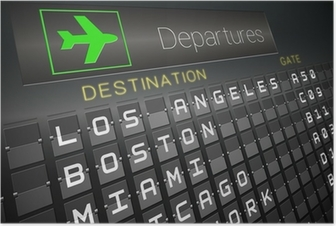 Black departures board for american cities Poster