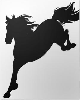 Poster Black horse silhouette 14 (vecteur)