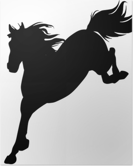 Black horse silhouette 14 (vector) Poster