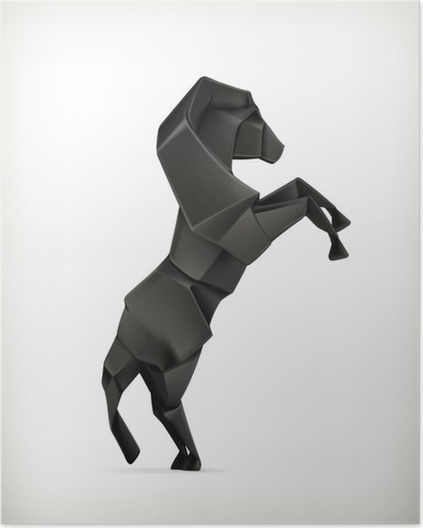 Black Paper Horse Origami Poster Pixers We Live To Change