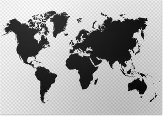 Black silhouette isolated World map EPS10 vector file. Poster