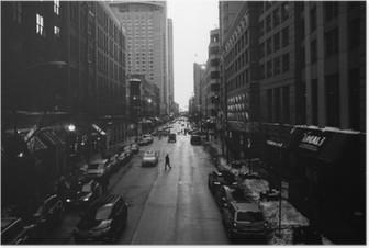 Póster Blanco calles de Chicago y negro