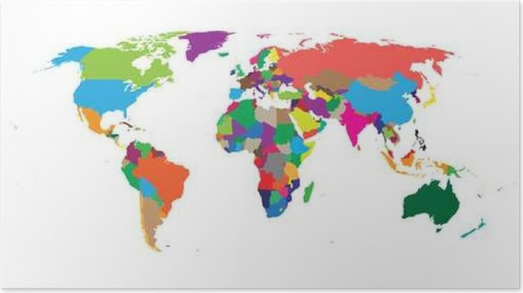 blank colorful political world map isolated on white background world map vector template for website infographics design