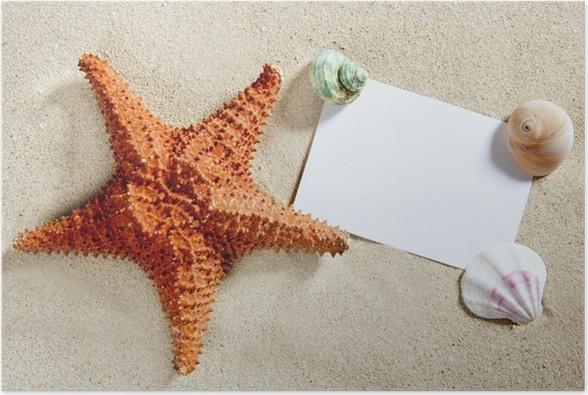 Blank Paper Beach Sand Starfish Shells Summer Poster