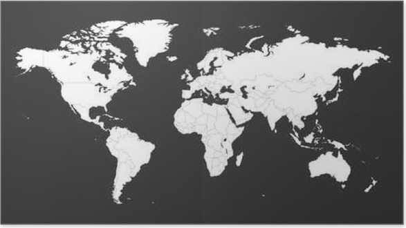 Blank white political world map isolated on black background worldmap vector template for website infographics design flat earth world map illustration poster gumiabroncs Images