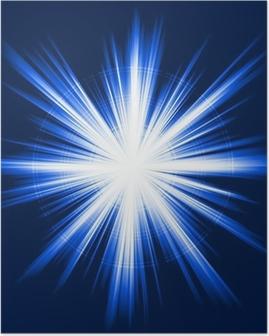 Poster Blått ljus, stjärnabristning, abstrakt linssignalljus, fyrverkerier
