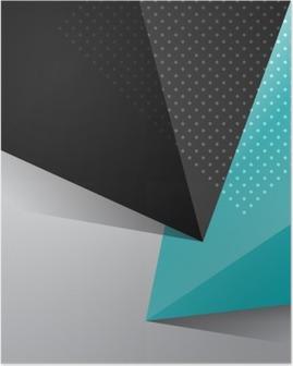 Poster Blauw en zwart abstract ontwerp achtergrond
