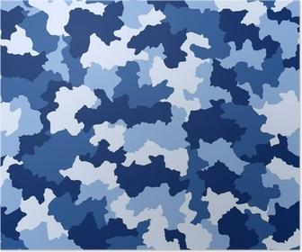 Poster Blauwe camouflage naadloze patroon