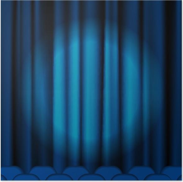 Poster Blauwe gordijnen • Pixers® - We leven om te veranderen