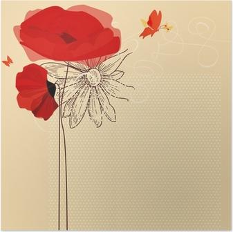 Poster Bloemen uitnodiging, papavers en vlinder vector