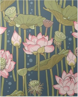 Poster Blooming lotus naadloze