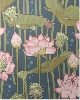 Blooming lotus seamless Poster