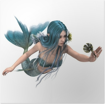 Poster Blue Mermaid houden Sea Lily
