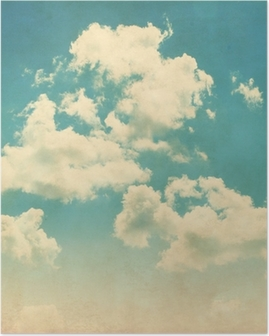 Blue sky with clouds in grunge style. Poster
