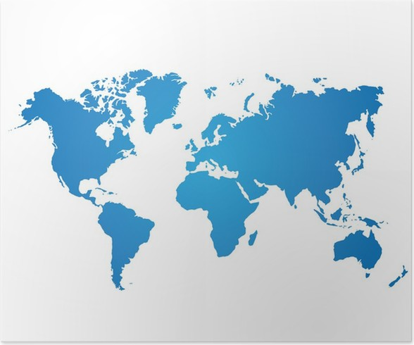 Blue world map on white background poster pixers we live to change blue world map on white background poster gumiabroncs Gallery