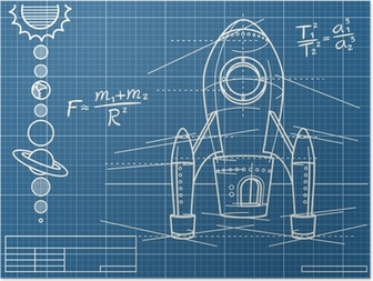 Blueprint with spaceship scheme and planets poster pixers we blueprint with spaceship and planets poster malvernweather Images