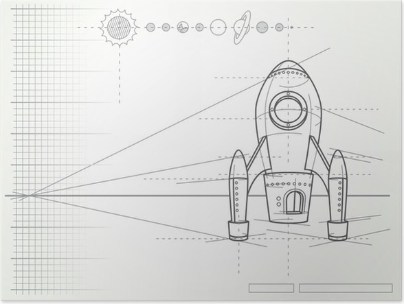 Blueprint with spaceship scheme and planets poster pixers we blueprint with spaceship scheme and planets poster malvernweather Images